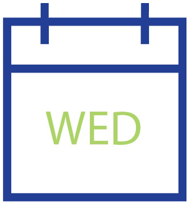 Calendar icon showing Wednesday
