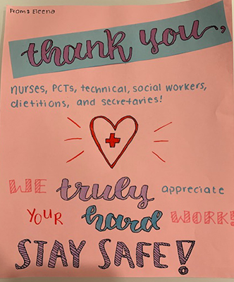 Elena's card thanks the nurses, PCTs, technical, social workers, dietitians, and secretaries.