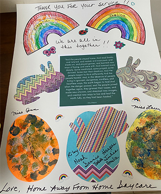 Card thanking the Fresenius Medical Team, featuring bunnies, eggs, and rainbows.