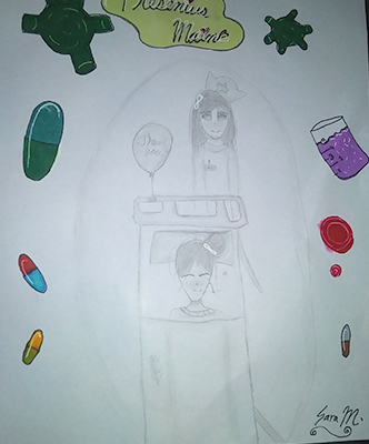 Sara's drawing featuring herself as a patient and a nurse.
